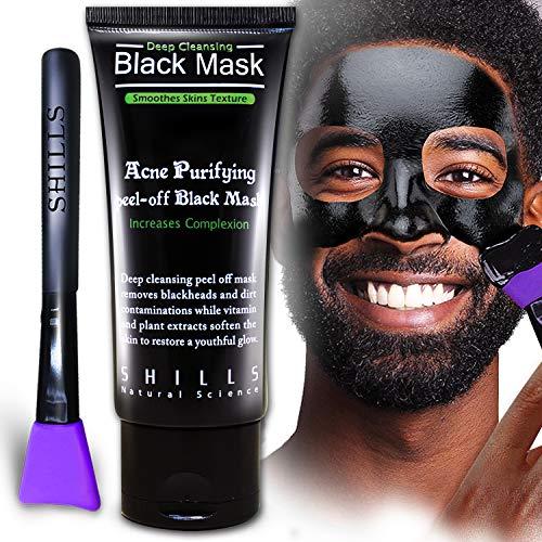 SHILLS Charcoal Black Mask, Blackhead Remover Mask, Activated Charcoal, Blackhead Peel Off Mask kit and Purple Brush (50ml)