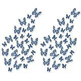 Luxbon 100pcs 3D Decorativas Pegatinas de Pared de la Mariposa 2 Tamaños DIY Mural Decalques Papel Arte Artesanía Inicio Decoración (Azul)