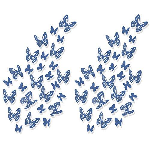Luxbon 100x Blau Papier 3D Schmetterlinge Wandtattoo Wandaufkleber Sticker zum Kleben Dekor für Wohnzimmer Kinderzimmer Türen Fenster Badezimmer Kühlschrank