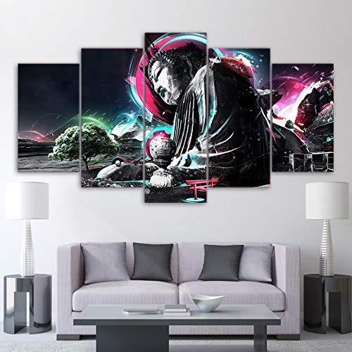 DXZJN 5 pinturas sobre lienzo Arte de la pared de lona Pintura de la lona Póster Disfraz de arte Buda religión Foto Lienzo Arte HD Imprimir Inicio Decoracion Caricatura Niño Oficina Sala 150X80CM