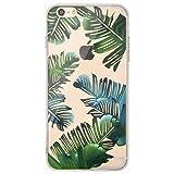 iPhone 6 Plus / 6S Plus Funda, OFFLY Transparente Soft Suave Cáscara, Grueso Fortalecer Protección Case Cover, Creativa Patrón Shell para Apple iPhone 6 Plus / iPhone 6S Plus - Hojas Tropicales