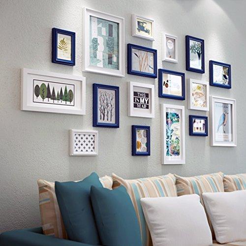 Cadre décoratif Bois massif 17 PCS/Set décoration de la maison bricolage cadre photo ensembles pour mur famille cadre photo ensembles avec carte photo (Couleur : B)