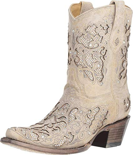 Corral Ld White Glitter Inlay & Crystals Ankle Boots ,Size 6