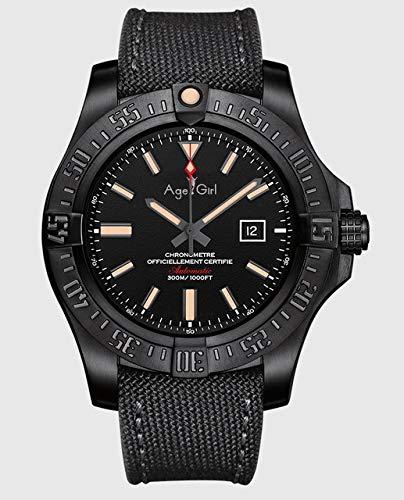 Leshared Zilveren zwart canvas rubber automatische mechanische mannen roestvrij stalen horloge saffier chronometer gele wijzerplaat