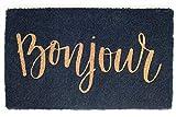 FAB HAB Cursive Bonjour Felpudos 46 cm x 76 cm, Extra Gruesos Handwoven Durable