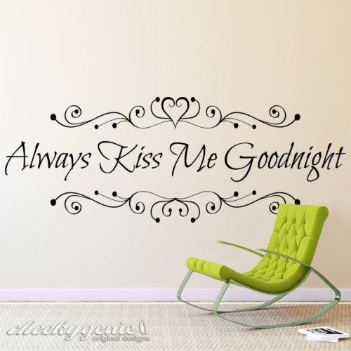 Windsor Designers Toujours Kiss Me Goodnight Chambre à Coucher en Vinyle Décoration Murale Amour Autocollant de Citation Akmg01, Noir, Large -Size 120cm x 40cm (48\