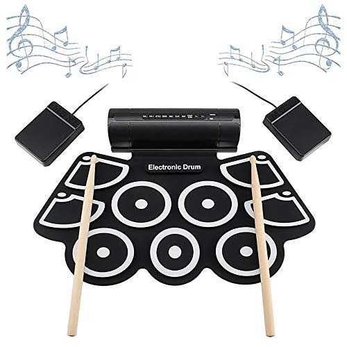 JW-YZWJ Portable Roll Up Electronic MIDI Drum Set Kits 9 Pads Built-in Speakers, Suitable for Children and Adults, Best Gift