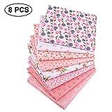 LKXHarleya 8pcs / Lot Pink Floral Craft Fabric, DIY Tela De AlgodóN Patchwork Cuadrados, Serie De Sarga Impresa para Bebé Y Scrapbooking Coser Acolchado, 40cmx50cm
