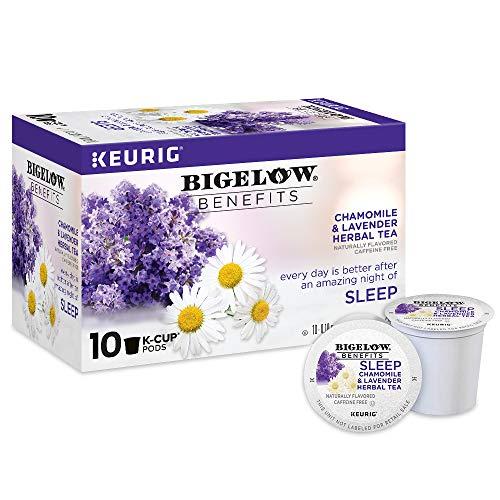 Bigelow Benefits Sleep Chamomile & Lavender Herbal Tea Keurig K-Cup Pods, 10 Count Box (Pack of 6), Caffeine Free Herbal Tea K-Cup Pods Total