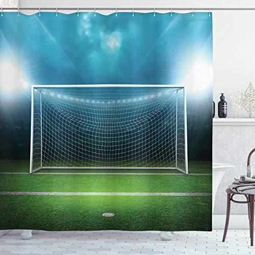 ABAKUHAUS Calcio Tenda da Doccia, Calcio Football Game, Tessuto Set di Decorazioni per Il Bagno con Ganci, per la Vasca da Bagno, 175 cm x 180 cm, Verde Blu