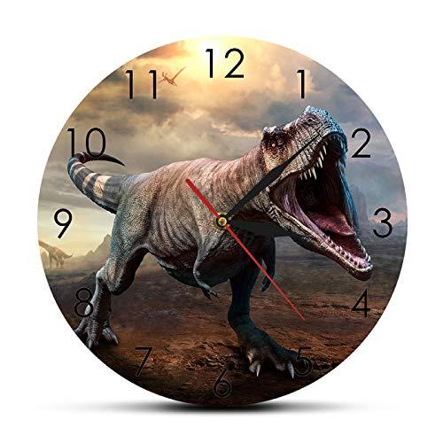 xinxin Reloj de Pared Jurassic King T-Rex Tyrannosaurus Reloj de Pared T-Rex Escena rugiente Ilustración 3D Arte de la Pared Decoración del hogar Reloj de Pared de Dinosaurio
