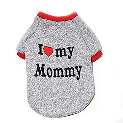 N / A Pet Winter Clothes, Fleece Dog Warm Coats Love Mommy Pet Clothing for Cats Puppy Small Dogs (L, Grey)