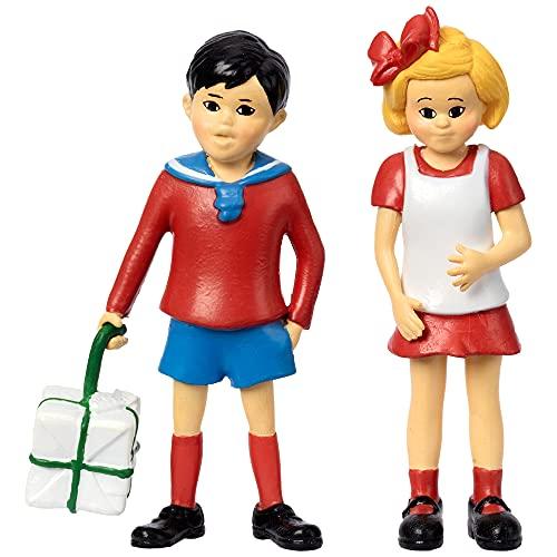 Micki & Friends Pippi Langstrumpf Spielzeug Spielfiguren Tommy & Annika, 80 mm – Puppenhaus Zubehör Figuren Mädchen und Jungen ab 3 Jahren