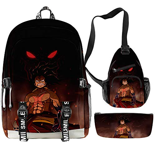 3D Anime One Piece Backpack Luffy Chopper Zoro School Book Bag Crossbody Sling Bag with Pencil Pouch for Men Boys Fans (19)