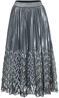 Faldas de Mujer Europa y América Falda de Cola de Pescado Grande Falda de Playa Falda de Playa Falda Plisada Vestido Largo Falda Larga Playa, Vacaciones (Color : Silver, Size : L)