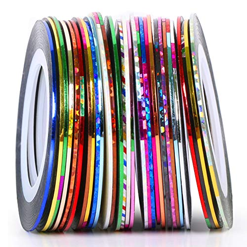 Striping Tape Nail Art Stripes Tape Zierstreifen Packung mit 30 Rollen Striping Tape in verschiedenen Farben