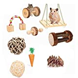 <span class='highlight'><span class='highlight'>ESRISE</span></span> Hamster Chew Toys, Bunny Gerbil Rat Guinea Pig Chinchilla Natural Wooden Chew Toys, Dumbbells Exercise Bell Roller Teeth Care Molar Toy