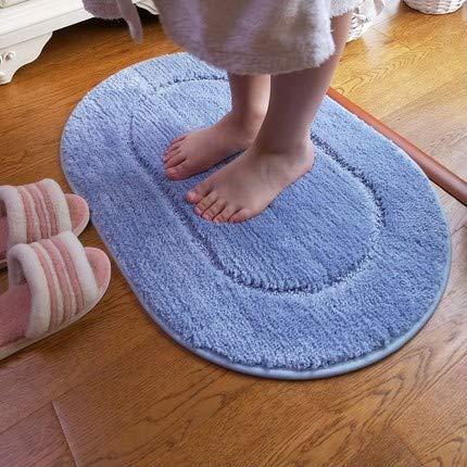 GHGMM Moderne Einfachheit Teppich, Schlafzimmer Wohnzimmer Badezimmer Couchtisch Matte, Rechteck Oval Verblassen Sie Nicht Kein Fussel Waschmaschinenfest Teppich,Blue+Ellipse,50 * 75Cm