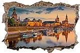 City Skyline Dresden Fluss Wandtattoo Wandsticker