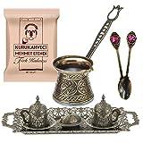 Juego de café árabe turco con diseño de bronce para servir, tazas de porcelana con bandeja grande, azucarero – Vintage...