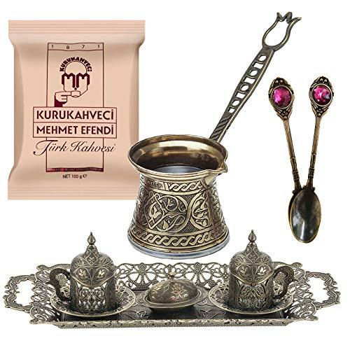 Bronze Design Turkish Greek Arab Coffee Espresso Set for Serving - Porcelain Cups With Large Tray Saucers Pot Sugar Bowl - Vintage Silver Engraved Embroidered Design - Ottoman Arabic Gift Set