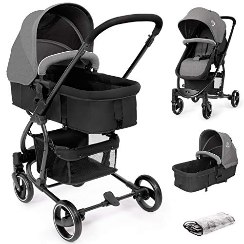 Birtech Pram Pushchair Travel System Stroller Foldable Lightweight with Rain Cover, Carrycot, Convertible to Reversible Seat, Lying Position, Lying Function, from Birth to 3 Years, Grey and Black