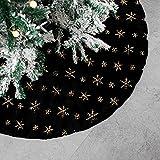 Tenrany Home Falda de Árbol de Navidad, Blanco Peluche Christmas Tree Skirt Felpa Dorados Copos de Nieve Base de Árbol de Navidad para la Navidad año Nuevo Vacaciones Decoración (Negro, 30 Inches)