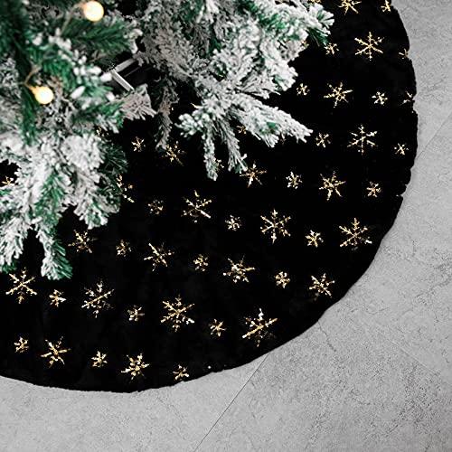 Tenrany Home Falda de Árbol de Navidad, Blanco Peluche Christmas Tree Skirt Felpa Dorados Copos de Nieve Base de Árbol de Navidad para la Navidad año Nuevo Vacaciones Decoración (Negro, 48 Inches)