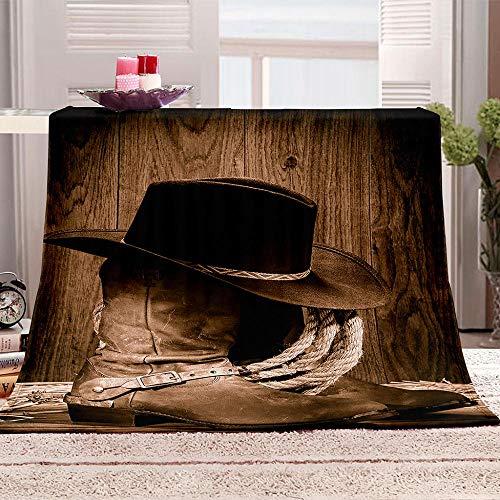 WDNKJQ Manta de Sofá Super Suave, Calentita, 100% Microfibra 130x150 cm Manta de Franela para Sofá/Cama/Cámping/Viaje - Sombrero de Vaquero