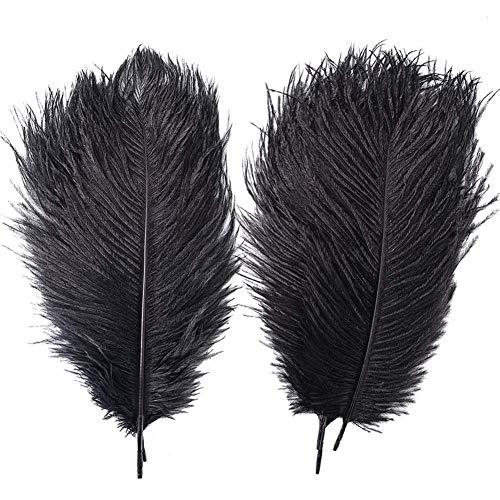 cheap4uk 10 plumas de avestruz grandes de 25 a 30 cm, disfraz para cumpleaos, bodas, fiestas, manualidades, color negro