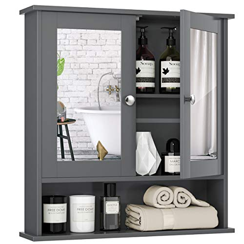 Tangkula Bathroom Cabinet Wall Mounted with Double Mirror Doors, Wood Hanging Cabinet with Doors and Shelves, Bathroom Wall Mirror Cabinet (Gray)