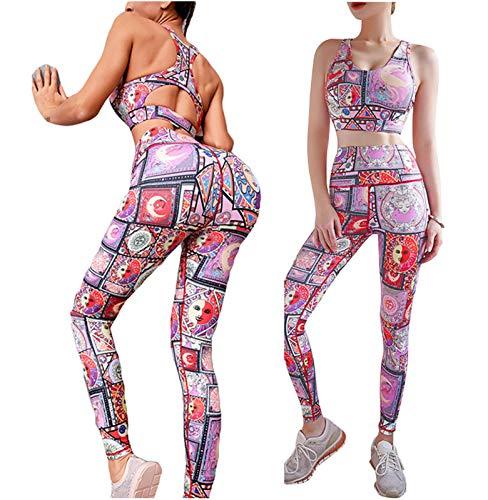 Conjuntos De Yoga para Mujeres Traje 2pc Scrunch Butt Lifting Levantamiento De Yoga Leggings Backless Running Sports Sujetador Entrenamiento Outfits Pink-M