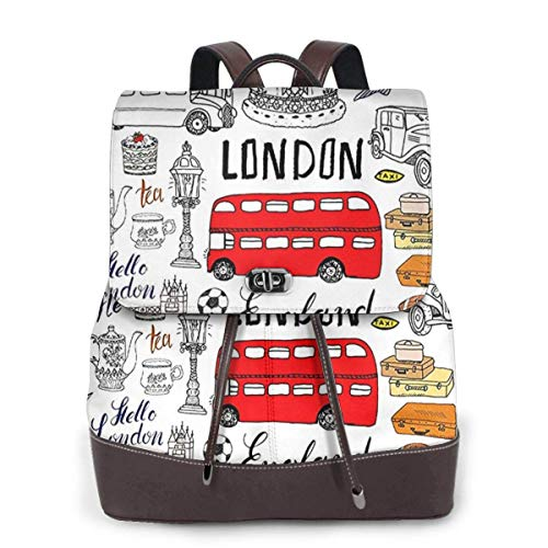 Flyup Mochila de cuero PU para mujer London Attractions Fun Drawing, Schoolbag Casual Daypack School Travel Bag Satchel Laptop Backpacks for Women