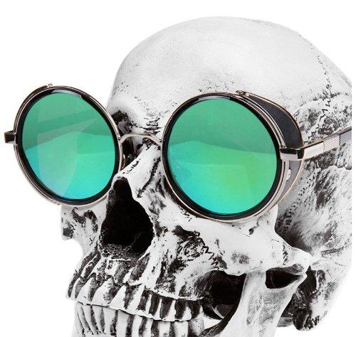 Steampunk Retro redondo marco gafas de sol gafas de sol para hombre redondo de gafas