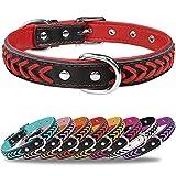 TagMe Collar de Cuero para Perro, Collares de Cuero Ajustables y Duraderos con Anillo en D para Perros Medianos, Rojo