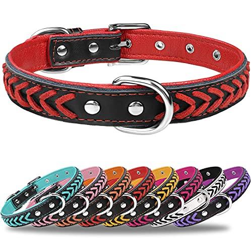 TagME Hundehalsband Leder für Kleine Hunde,Geflochtenes, Weich Gepolstert Hundehalsbänder mit Doppelten D-Ringen, Rot S