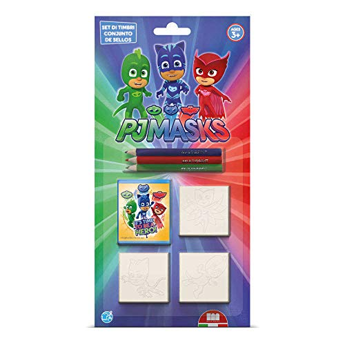 Multiprint Blister 3 Timbri per Bambini Pj Mask, 100% Made in Italy, Set Timbrini Bimbi Personalizzati, in Legno e Gomma Naturale, Inchiostro Lavabile Atossico, Idea Regalo, Art.03954