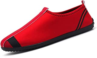 Shangruiqi Leisure Driving Loafers for Men Round Toe Casual Walking Shoes Stitch Canvas Slip On Lightweight Anti-Wear (Color : Red, Size : 8.5 UK)