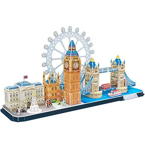 CubicFun Puzzle 3D Londres CityLine Rompecabezas 3D Juego de Modelos de Construcción Souvenir Regalo para Niños Adultos, 107 Piezas