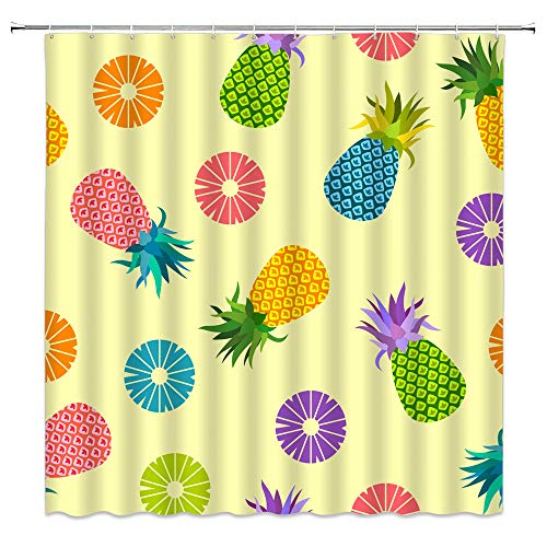 n/o Duschvorhang Ananas Duschvorhang gelbgrün Obstblatt Badezimmer Dekoration Zubehör haltbare wasserdichte Polyester Stoff 180cm Vorhang