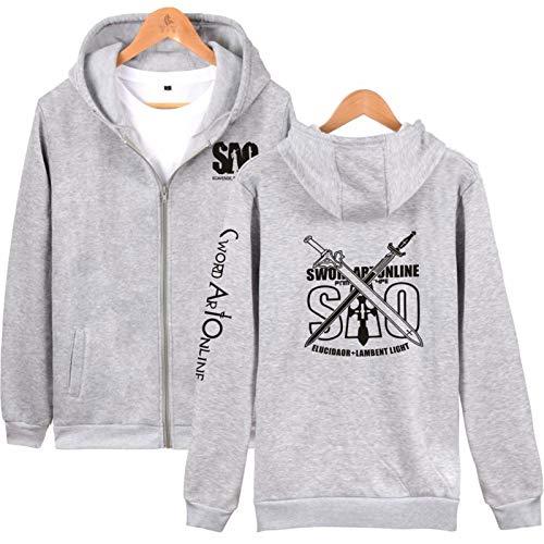 Sword Art Online SAO Kapuzenpullover Kirito Kleidung Hoodie, einfarbiger Stoff, niedlich und schick, langärmelig, für Teenager / Jungen und Mädchen Gr. S, Grau/schwarzes Logo.