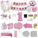 Set de Artículos Accesorios Completo para Decoración Fiestas Cumpleaños bebé Niña de un año Lote de 164 Piezas Sirve 16 Invitados