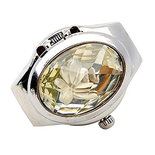 Amesii Orologio da donna alla moda con anello di strass e copertura ovale mini orologio al quarzo e Lega, 53 (16.9), colore: bianco, cod. AME