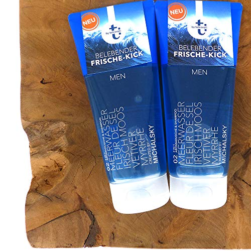 (100ml/5,99) 3tlg. Set: 2x200ml t: by tetesept Duschgel - t: by Michalsky 02 Blue MEN – 2 in 1 Aroma-Duschgel und Shampoo + Dustbag von STUDIO.MUNET