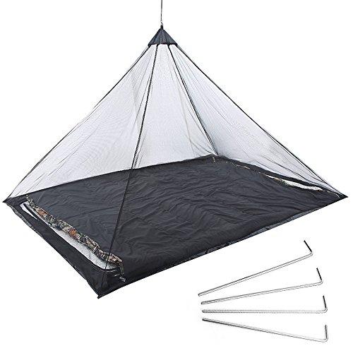 Cuitan Mosquitera de Cama Individual de Camping Ligero Mosquito Net 220 x 120 x 100 cm,Negro