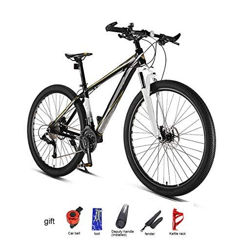 GUOHAPPY Vélo de Montagne de 29 Pouces (330 Livres), adapté aux Personnes de 165 à 195 cm de Hauteur, Cadre en Alliage d'aluminium et Doubles Freins à Disque hydrauliques,Black Yellow