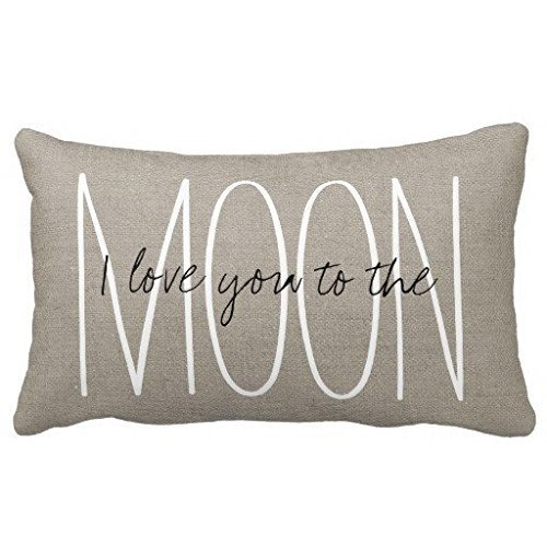 Acelive 20x30 inches Cotton Linen Standard Pillowcase Home Decorative Cushion Case Rustic Chic I Love You to The Moon Pillow Cover for Valentine's Day Father's Day