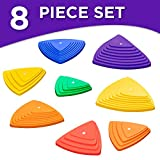 Sunny & Fun Balance Stepping Stones Obstacle Course for Kids | Set of 8 River Stones in 2 Varying Sizes & Steepness | Fun Indoor & Outdoor Toy Helps Build Coordination & Strength (Junior Set)