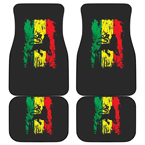 CHICKYSHIRT Jamaica Lion Reggae Rasta Caribbean Music Pride Flag, Customized Car Floor Mat, Universal Fit Auto Floor Mat Set of 4, Fit Most Vehicle, Cars, Sedan, Truck, SUV (Style 2)