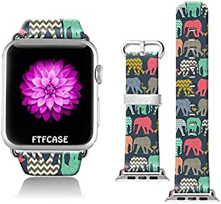 FTFCASE Compatible with Apple Watch Band 38mm 40mm, Soft Leather Replacement Sport Bands Compatible with iWatch 38mm 40mm Series 4/3/2/1 - Retro Aztec Tribal Elephant